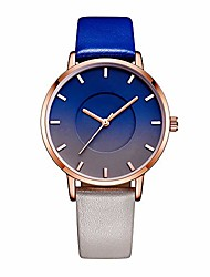 cheap -Women's Quartz Easy Reader Watch with Gradient Blue Dial Analogue Display and Blue Leather Strap,Simple Waterproof Fashion Student Women's Watch Adapt to Ladies Girls