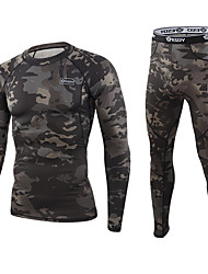 cheap -Men's Hunting Jacket with Pants Outdoor Thermal Warm Breathability Soft Fall Spring Camo / Camouflage Elastane Polyester Black Green / 2pcs