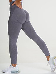 cheap -Women's High Waist Yoga Leggings Seamless Pants Tights Leggings Tummy Control Butt Lift 4 Way Stretch Purple Light Purple Dark Green Nylon Spandex Fitness Gym Workout Running Sports Activewear High