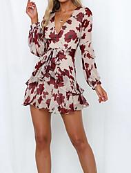 cheap -A-Line Flirty Boho Homecoming Cocktail Party Dress V Neck Long Sleeve Short / Mini Spandex Chiffon with Pattern / Print 2021