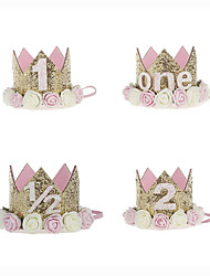 cheap -baby princess tiara crown, baby girls/kids first birthday hat sparkle gold flower style with artificial rose flower