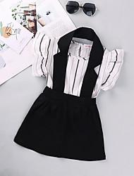 cheap -Kids Little Girls' Dress Striped Print White Above Knee Sleeveless Basic Dresses Regular Fit