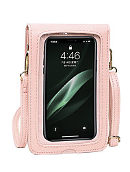 cheap -Women's Bags PU Leather Mobile Phone Bag Plain Hollow 2021 Daily Going out White Black Blue Blushing Pink