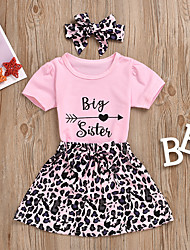 cheap -Kids Little Girls' Dress Letter Bow Print Blushing Pink Short Sleeve Active Cute Dresses Regular Fit
