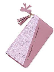 cheap -Women's Bags PU Leather Wallet Tassel Zipper Sequin Rivet Letter Shopping Daily 2021 Wine Black Blushing Pink Sky Blue