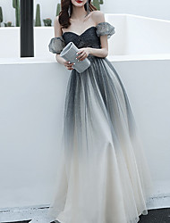 cheap -A-Line Color Block Sparkle Engagement Prom Dress Off Shoulder Short Sleeve Floor Length Tulle with Pleats Beading Sequin 2021
