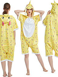 cheap -Adults' Kigurumi Pajamas Unicorn Onesie Pajamas Pure Cotton Yellow Cosplay For Men and Women Animal Sleepwear Cartoon Festival / Holiday Costumes