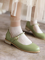 cheap -Girls' Flats Flower Girl Shoes Princess Shoes PU Mary Jane Big Kids(7years +) Daily Party & Evening Sparkling Glitter Pink Green Beige Spring Summer
