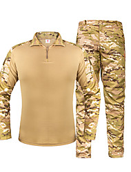 cheap -Men's Hunting Jacket with Pants Outdoor Waterproof Ventilation Wearproof Fall Spring Camo / Camouflage Cotton Polyester Camouflage Brown