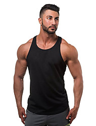 cheap -Men's Tank Top Graphic Solid Colored Plus Size Basic Sleeveless Daily Slim Tops Cotton Active Round Neck Blue Yellow Gray / Sports / Summer