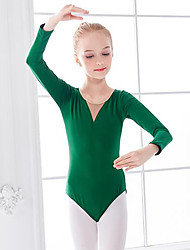 cheap -Ballet Leotard / Onesie Ruching Split Joint Girls' Training Performance Long Sleeve High Mesh Spandex