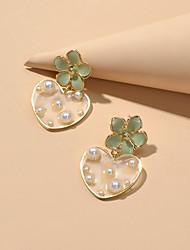 cheap -Women's Drop Earrings Drop Sweet Heart Sweet Imitation Pearl Earrings Jewelry Green For Date Festival