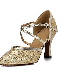 cheap -Women's Modern Shoes Ballroom Shoes Heel Tassel Thick Heel Gold Silver Cross Strap
