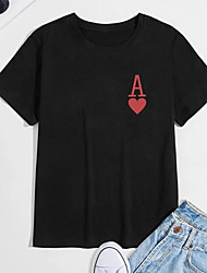 cheap -Men's T shirt Hot Stamping Letter Print Short Sleeve Casual Tops 100% Cotton Casual Fashion Black