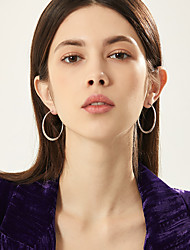 cheap -Women's Hoop Earrings Earrings Geometrical Fashion Stylish Simple Trendy Stainless Steel Earrings Jewelry Black / Gold / Silver For Birthday Party Evening Street Gift