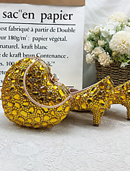 cheap -Women's Wedding Shoes Pumps Pointed Toe Wedding Pumps Vintage Sexy Minimalism Wedding Party & Evening PU Rhinestone Crystal Sparkling Glitter Solid Colored Gold
