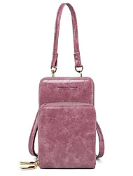 cheap -Women's Bags PU Leather Mobile Phone Bag Zipper Plain 2021 Daily Going out Black Purple Red Blushing Pink
