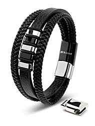 cheap -Mens Silver Bracelets 17cm Bracelet Men Gift-Box Genuine-Leather Cowhide Braided Magnetic-Clasp Multi-Layer Wrap Rope Man Mans Male Boy Boys Mens Bracelets Band Jewelry Magnet Accessories