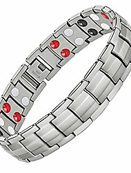 cheap -Magnetic Bracelets for Mens Arthritis Pain Relief Sleek Titanium Stainless Steel Double-Row 4 Elements Magnets Bracelet