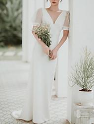 cheap -Mermaid / Trumpet Minimalist Elegant Engagement Formal Evening Dress V Neck Short Sleeve Sweep / Brush Train Italy Satin with Sleek 2021