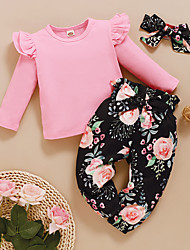 cheap -Baby Toddler Girls' Clothing Set 2pcs Cotton Floral Long Sleeve Set With Headband Red Blushing Pink Solid Colored Ruffle Bow Print School Daily Wear Basic Regular 1-4 Years