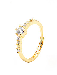 cheap -Ring tiny diamond Gold Gold Plated S925 Sterling Silver Ball Elegant Fashion 1pc Adjustable / Women's / Adjustable Ring