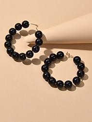 cheap -Women's Hoop Earrings Beads Trendy Resin Earrings Jewelry Black For Date Festival