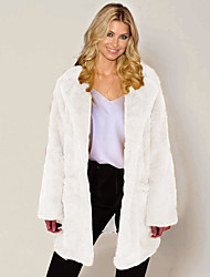 cheap -Women's Faux Fur Coat Long Solid Colored Going out Camel White Black Blue S M L XL