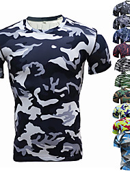 cheap -Men's Hunting T-shirt Tee shirt Short Sleeve Outdoor Summer Ultra Light (UL) Well-ventilated Breathability Quick Dry Top Polyester Camping / Hiking Hunting Fishing Traveling Blue and White Camouflage