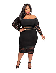 cheap -Women's Plus Size Dress Sheath Dress Midi Dress Long Sleeve Solid Color Casual Spring & Summer Fall & Winter