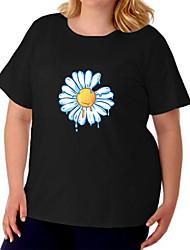 cheap -Women's Plus Size Tops T shirt Floral Graphic Prints Large Size Crewneck Short Sleeve Basic Big Size / Cotton