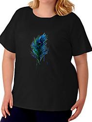 cheap -Women's Plus Size Tops T shirt Leaf Graphic Prints Large Size Crewneck Short Sleeve Big Size / Cotton