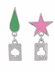 cheap -Anime Earrings HUNTER x HUNTER Hisoka Earrings Cosplay Stars Teardrop Poker Earring Stud for Women Men Earring Jewelry Gift Accessories