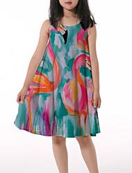 cheap -Kids Little Girls' Dress Crane Graphic Animal Ruched Print Rainbow Knee-length Sleeveless 3D Print Cute Dresses Loose 4-13 Years