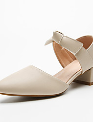 cheap -Women's Sandals Chunky Heel Pointed Toe Block Heel Sandals Casual Sweet Daily Walking Shoes PU Solid Colored Almond Brown