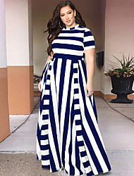 cheap -Women's Plus Size Dresses Sheath Dress Maxi long Dress Short Sleeve Striped Casual Spring & Summer / Loose