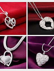 cheap -Women's Pendant Necklace Charm Necklace Classic Heart Fashion Zircon Copper Silver Plated Silver 45 cm Necklace Jewelry 1pc For Christmas Party Evening Street Gift Festival
