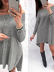cheap -Women's Tee Dress Pure Color Off Shoulder Sport Athleisure Dress Long Sleeve Breathable Soft Comfortable Everyday Use Casual Daily Outdoor