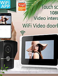 cheap -WIFI / Wired & Wireless Recording Snapshot wiht Motion Detect 7inch Monitor Video Intercoms Home Security System Video Doorbell Door phone with 1080P camera Multi-language support Tuay APP