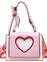 cheap -Women's Bags PU Leather Crossbody Bag Rivet Bow(s) Zipper Heart Daily Going out 2021 Handbags MessengerBag Pink White Black