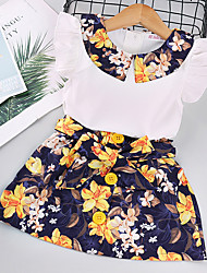 cheap -Kids Little Girls' Dress Floral Print White Short Sleeve Basic Cute Dresses Regular Fit