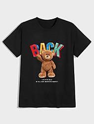 cheap -Men's Unisex T shirt Hot Stamping Bear Plus Size Print Short Sleeve Casual Tops 100% Cotton Casual Fashion Black
