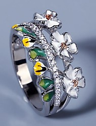 cheap -Ring AAA Cubic Zirconia Two Stone Silver Brass Floral Theme Flower Elegant Fashion Sweet 1pc 6 7 8 9 10 / Women's