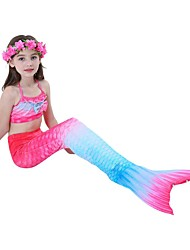 cheap -Kids Girls' Swimwear Sports Beach Mermaid Tail The Little Mermaid Gradient Sleeveless Active Blue Red Rainbow 3-9 Years