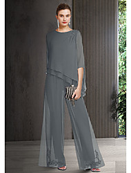 cheap -Pantsuit / Jumpsuit Mother of the Bride Dress Elegant Jewel Neck Floor Length Chiffon 3/4 Length Sleeve with Appliques 2021