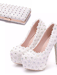 cheap -Women's Wedding Shoes Platform Round Toe Wedding Pumps Vintage Sexy Roman Shoes Wedding Party & Evening PU Rhinestone Sparkling Glitter Lace Solid Colored Color Block White