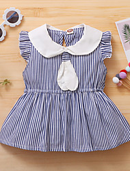 cheap -Toddler Little Girls' Dress Blue & White Striped Causal Ruched Ruffle Blue Asymmetrical Sleeveless Active Cute Dresses Regular Fit 1-3 Years