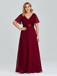 cheap -A-Line Empire Wedding Guest Prom Dress V Neck Short Sleeve Floor Length Chiffon with Pleats 2021
