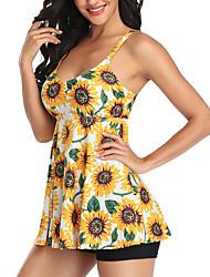 cheap -Women's Bikini Tankini Swimsuit Racerback Print Tropical Yellow Black Swimwear Padded Strap Bathing Suits New Lady Cute / 2 Piece / Tattoo / Padded Bras / Slim