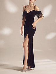 cheap -Sheath / Column Minimalist Sexy Wedding Guest Formal Evening Dress Spaghetti Strap Short Sleeve Floor Length Velvet with Tassel Split 2021